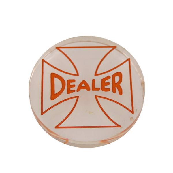 Dealer Button, Klar/orange Akryl